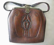 Antique Art Nouveau Deco BIRD OF PARADISE Hand Tooled Leather Suede Lined Purse