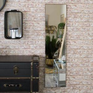 Dark wood framed wall mirror brown frame hanging bedroom bathroom display gift