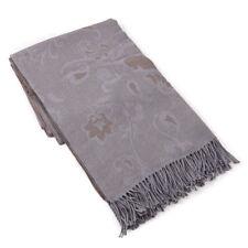 NWT $925 BATTISTI NAPOLI Gray-Tan Paisley Superfine Wool Throw Blanket + Box