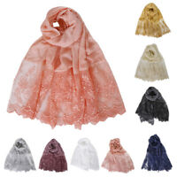 Women Muslim Cotton Scarf Long Scarves Lace Bead Wraps Shawl Pearl Hijab Cape