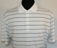Nike Golf Dri Fit Mens Large White Striped Short Sleeve Polo Shirt EUC Logo