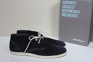 New sz 11 1/2 Salvatore Ferragamo Rico Blue Suede Chukka Lace up Sneaker Shoes