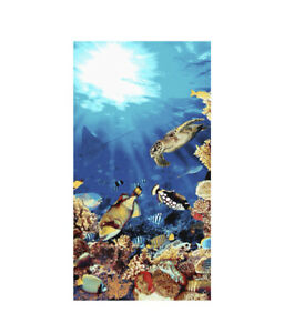 Mainstays Underwater Turtle Sea Life 34 in X 64 In Beach Towel 100 % Cotton New