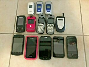 Lot of 14 flip cell phones Kyocera Samsung Alcatel TMobile Verizon