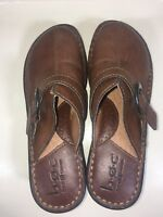 BOC Size 6 Born Concept Brown Mules Clogs Leather Slip On Buckle Shoes Women's