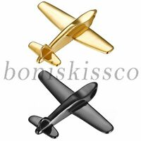 Men's Polished Stainless Steel Plane Aircraft Airplane Pendant Necklace Chain
