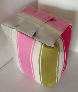 PRE FILLED APPROX 1.5KG QAULITY PINK LIME GREEN GREY STRIPED FABRIC DOOR STOP