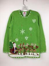 Quacker Factory Ugly Christmas Sweater XS Green Reindeer Santa Tree Light Up