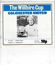 COLCHESTER UNITED  V IPSWICH TOWN & NORWICH CITY WILLHIRE CUP 29/7 & 1/8 1978