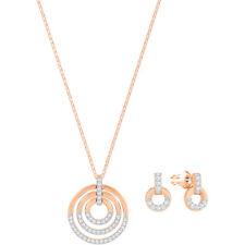 SWAROVSKI CIRCLE SET NECKLACE AND EARRINGS #5367890 MEDIUM, WHITE, ROSE GOLD NIB