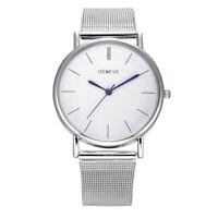 Geneva Hombre De Mujer Reloj Oro Plata Acero Inoxidable Malla Banda pulsera