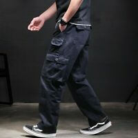 Men's Cargo Overalls Work Pants Street Hip Hop Pockets Trousers Loose Joggers