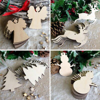 10Pcs Christmas Wood Chip Tree Ornaments Xmas Hanging Charms Decoration Gifts