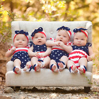 4th Of July Newborn Infant Baby Boy Girl Stars and Stripes Romper Clothes Outfit
