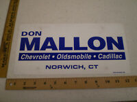 DON MALLON CHEVROLET NORWICH CONNECTICUT PLASTIC BOOSTER FRONT LICENSE PLATE