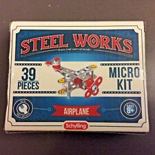 Schylling Steel Works Construction Airplane Micro Set Kit 37 pcs w/ Tools Age 8+