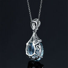 Vintage Gemstone Natural Aquamarine Silver Chain Pendant Wedding Necklace Gift
