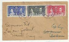 TRISTAN DA CUNHA COVER TYPE V CACHET CAPt SMYE JAMAICA CORONATION STAMPS c.1937