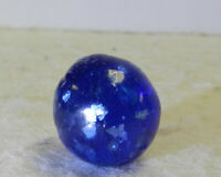 #12519m Vintage German Handmade Blue Glass Mica Marble .58 Inches