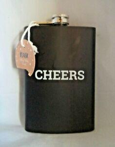 Black 8oz Flask Stainless Steel Screw Down Cap & Liner Hip Pocket Liquor Alcohol