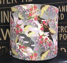 NEW HANDMADE LAMPSHADE IN ORIENTAL CRANES FABRIC BIRDS GREY PINK GOLD
