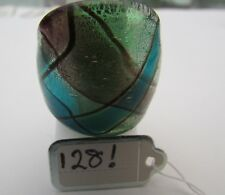 Glass Ring. Uk-.O/P. Us-7.25 (128!) A Green/Silver/Blue & Purple Murano Style