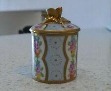 More details for antique dresden porcelain hand painted lidded pill pot jar lid flower decorated