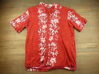 Hawaii Blues Mens Size XL Red Hawaiin Floral Pattern Shirt
