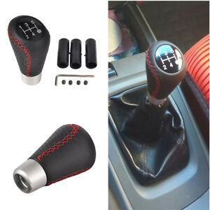 5 Speed Universal Black Leather Stitche Manual Car Gear Stick Shift Knob Shifter
