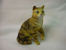 Brown Stripe Tabby Cat Figurine kitty Hand Painted Statue shorthair kitten New
