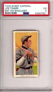 """1909-11 T206 Sweet Cap JOE TINKER Bat On Shoulder PSA Grade 3 VG-Cond. """"@HI-END"""""""