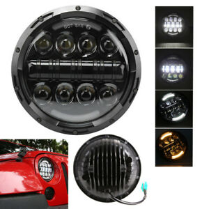 "7"" 80W LED Headlight Angle Eyes Amber Indicator HaloDRL for Jeep Wrangler Hummer"