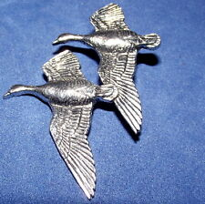 Pewter Goose Hunting Shooting Brooch Pin  Signed