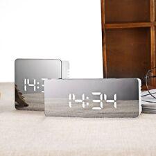 LED Mirror Digital Alarm Clock w/ Snooze Night Light Display