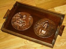STUNNING SWITZERLAND SWISS VINTAGE DUTCH DESIGN WOODEN GLASS COPPER SERVING TRAY