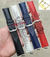 18mm 20mm 22mm Genuine Lizard Skin Leather Watch Strap Band Black White Blue Red