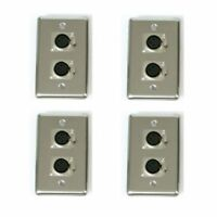 4 OSP Stainless Steel Audio Wall Plate w/2 XLR Female Jacks