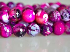 10mm Faceted Round Snakeskin Agate Semi Precious Stone Beads Pink Color #2106