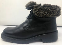 LL Bean Womens Black Leather Shearling Lined Lace Up Winter Boots Shoes Size 8.5