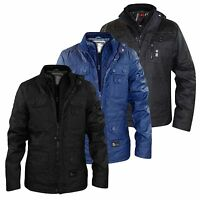 New Mens Crosshatch Wax Coated Quilted Lined Winter Jacket Double Zip Coat