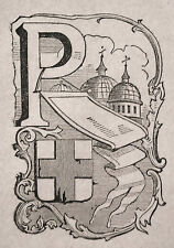1871:PADOVA, MINIATURA STEMMA ARALDICO CITTA da Cento Citta, Ariodante Manfredi.