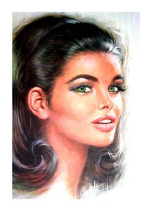 """LOU SHABNER DARK HAIRED 15X24"""" CANVAS REPRODUCTION PRINT- QUALITY GLOSS CANVAS"""