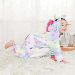 Kids rainbow Unicorn Kigurumi Animal Cosplay Costume Onesie074 Pajamas Sleepwear