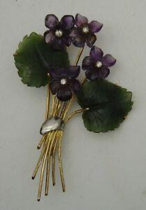 585 Gelbgold Brosche Veilchenstrauß Amethyst Jade Diamanten aus den 60er Jahren
