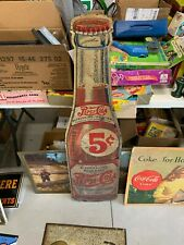 Vintage Original 5 Cent Pepsi Cola Bottle Shape Die Cut Metal Sign GAS OIL SODA