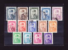 LOT #11  Iran RARE REZA SHAH 14 single used stamp set Pahlavi Book Value $70