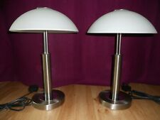 PAIR of MODERN TOUCH TABLE / BEDSIDE LAMPS WITH FROSTED GLASS-DOMED SHADES