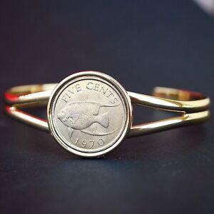 1970 Bermuda 5 Cent Queen Angel Fish Wildlife BU Coin Gold Plated Cuff Bracelet