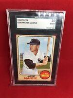 1968  Topps  Baseball  # 280   Mickey Mantle Good Condition SGC 30