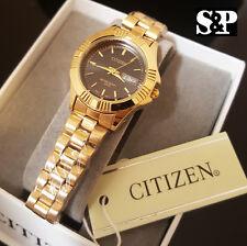 Women's Luxury Citizen 24K Gold PT Black Dial Metal Band Date Dress Wrist Watch